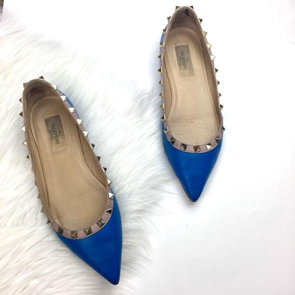 fd67554f9058 VALENTINO Rockstud Flats Blue Pointed. M 5b175589aa8770e69a433ee3
